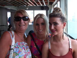 The 3 girls on our way to see the Staue of Liberty via Ellis Island. , P R M - June 2012