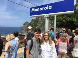 Tracy and Danny at the Manarola train station - waiting for train to take us to Corniglia , Tracy W - July 2016