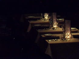 I got a picture of the Table Settings while we were waiting to board the boat. So romantic!, CoyoteLovely - November 2011