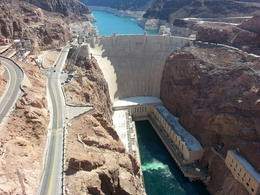 Hoover Dam in all its glory, but Lake Mead's continued evaporation behind it is very troubling and we need to find a way to fix it before it's too late!!! , Robert T - June 2015