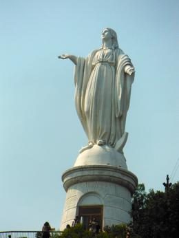 this is a statue of virgin mary at the top of a hill overlooking santiago. , pamann - January 2017