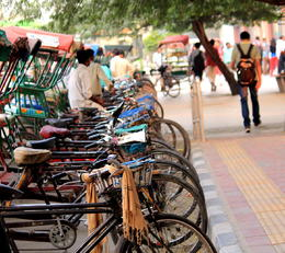 Rickshaws lined up by the sidewalk - December 2012