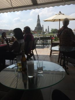 Singha beer and Wat Arun in the distance , Susan V - January 2016