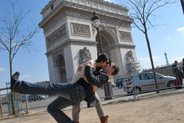Paris, arc de triomphe , sharing an unconvientional kiss=) , Emily - January 2011