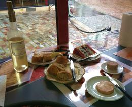 Latin Quarter food tour sampling - three types of frommage; baguette, frois gras, pate, accompanied by sweet white wine. , Michele F - August 2014