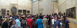 A panorama of people visiting Mona Lisa painting. Should be viewed in 1:2.68 perspective. , Tobias H - July 2015
