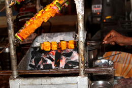 Paneer tikka being cooked by a street vendor - December 2012