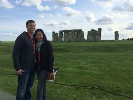 Chris and I getting the must needed shot of stonehenge , Beryl M - August 2014
