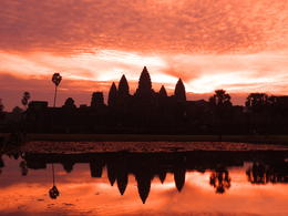 Sunrise at Angkor Wat - get there early! The bank of the reflection pond was overcrowded before sunrise. , Kevin F - December 2014