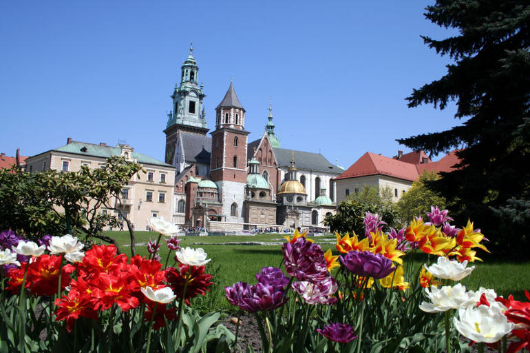 View of Wawel Castle and garden in summer - Krakow