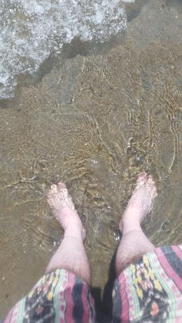 Me dipping my feet in the Atlantic Ocean Western fringe, 3 weeks after doing so at Weston Super Mare, England at the Eastern fringe. , Thomas B - July 2014