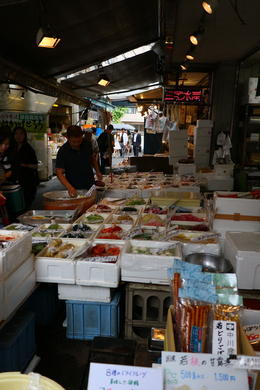 One of many colorful and friendly vendors in the Tsukiji outer market , s.hirsh - June 2017