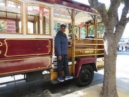 Charles posing on bus , Joyce T - July 2017