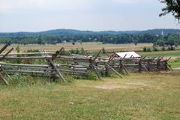 This is the type of fencing that was over many parts of the battlefield that day. To advance the fence had to be climbed or removed while under continuous fire., Gerald F M - July 2010