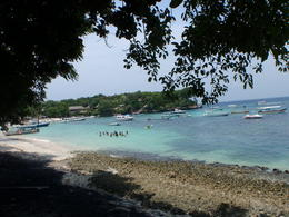 View of the beautiful Lembongan Island beach. There is white and black sand at this beach. , Jenny G - February 2011