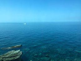 Photo of the Mediterranean Sea from the Manarola train station, heading to Corniglia , Whitney H - June 2015