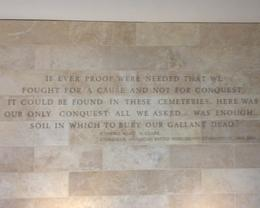 Inscription on wall at the American Cemetery Museum , Timothy B - July 2014