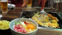 The making of Monja (and Okonomiyaki ingredients in the bowl on the left) , C S - August 2013