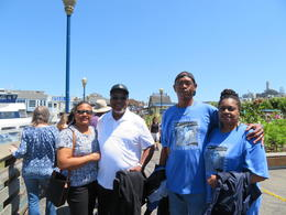 Joyce, Charles, Charles and Cassandra at Pier 39 ready for bay cruise , Joyce T - July 2017