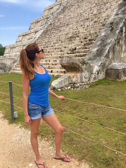 Gazing in wonder at the great pyramid of Chichen Itza , Lynne C - July 2015