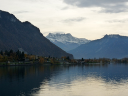 The Alps rising impressively around Lake Geneva - from cruise boat, kellythepea - October 2010