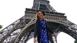This is our granddaughter. She is very excited to be at the Eiffel Tower on her first day in Paris! , Preston H - May 2013
