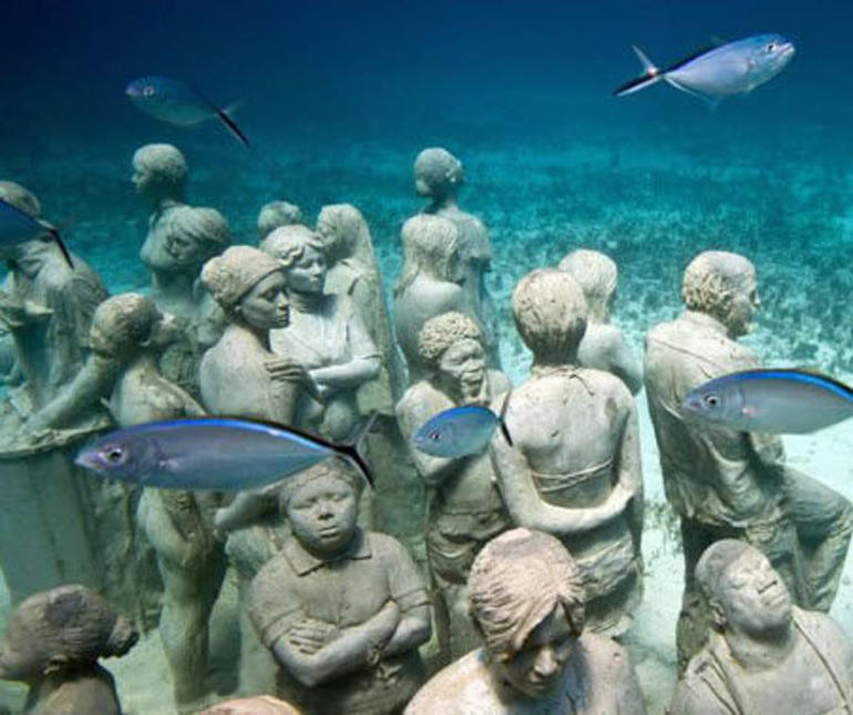 Underwater sculptures, Cancun Museum of Underwater Modern Art - Cancun