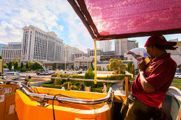 The Big Bus tour guide pointing out interesting landmarks along Las Vegas Boulevard., Viator Insider - December 2017