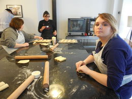 The chef and some of the students making croissants , Rose E - April 2016