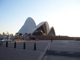 The Sydney Opera House literally shimmers as the sun rises over the Sydney harbour. We arrived at the Sydney Opera House early in the morning for the VIP backstage tour., Kenneth V - November 2008