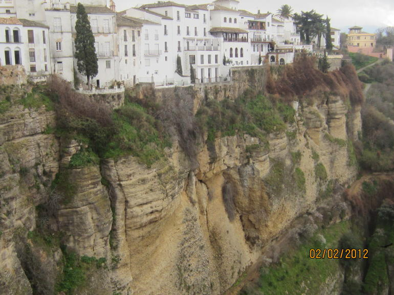View of houses on the edge of the mountain in Ronda - Costa del Sol