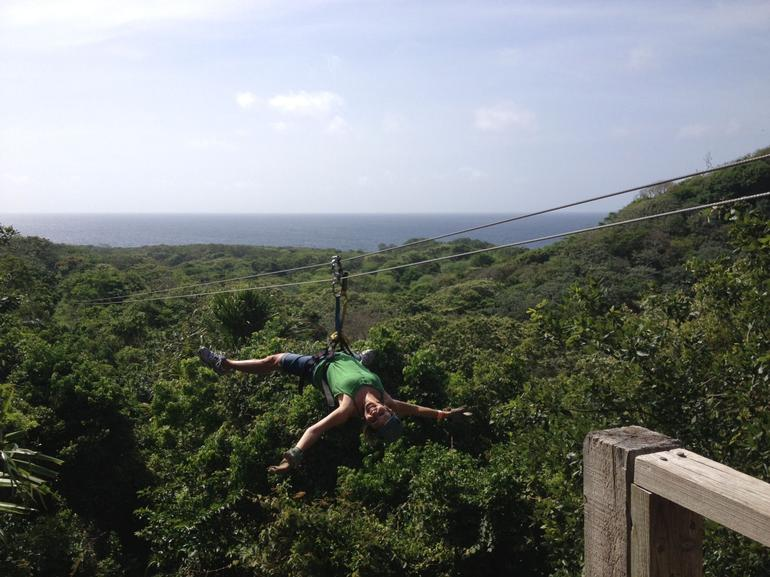 Kim Zipping in Roatan - Roatan