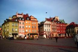 The colorful building in the old town square in Warsaw. - October 2008