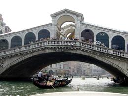 A view of one of the many bridges spanning the canals. Notice the crowds on the bridge watching the Gondolas as they cruise underneath with their passengers., HONG HONG T - November 2009