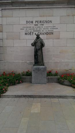 Statue of Dom Perignon at Moet and Chandon cellars , Timothy H - October 2013