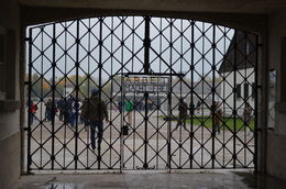 This is the gate going into the courtyard of Dachau Concentration Camp. This was the original camp that Hitler started and killed political opponents at. , Shjohn76 - October 2015