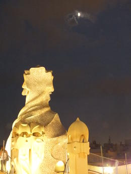La Pedrera roofscape and quot;under the moon and quot; , Dennis T - July 2013