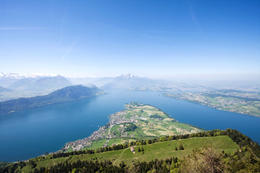 "Nice panoramic view from Mount Rigi (viewpoint ""Kanzeli"") of Lake Lucerne and the Alps in the background - December 2011"
