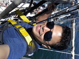 Me trying to take this while hanging on the ropes just below the crow's nest. Wasn't easy but got it done. , Kumar - January 2015