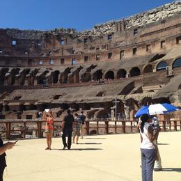 This is a view of the inside of the Colosseum from the special mezzanine floor erected above the chambers below arena floor level. Only accessible on the upgraded tour, but SO worth it. The..., Nicola G - August 2014