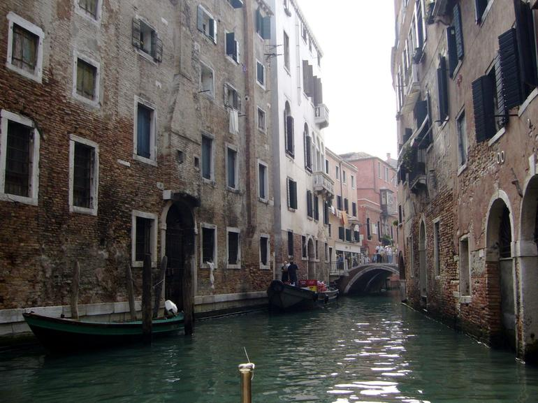 View of the narrow waterways navigated by the Gondolas - Venice