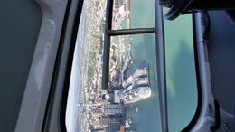 birds eyes view of Auckland and my cruise ship explorer of the sea royal carribean taken from inflite helicopter ride on my volcanoes and beaches flight . , vero - December 2015