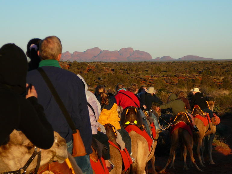 The Olgas at sunrise from atop a camel - Ayers Rock