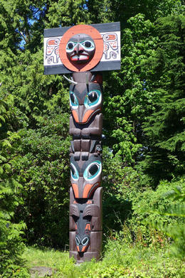 One of the many totems in Stanley Park , Dolores M - August 2014