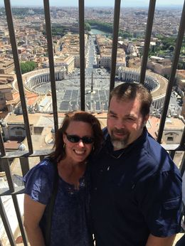 John and Kathy W. from St. Peters Cupola with St. Peters square in the background , Katherine W - May 2015