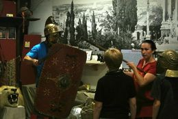 In the Gladiator Museum, showing examples of equipment and techniques. , Jon P - July 2015