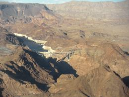 The new Hoover Dam Bypass Bridge in front of Hoover Dam, JennyC - November 2010