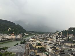 Enjoying the view of Salzburg at the museum cafe. View was breathtaking in spite of cool, rainy afternoon. We had enjoyed several hours of sunshine earlier. , Michael E - June 2016