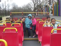 Upper Deck Original London Sightseeing Tour. 23 Dec 2008. From Left: Mom, Aliah, Syafiq, Aina, Me & Aqilah. Photo taken by hubby, Isa, MOHD ISA S - January 2009
