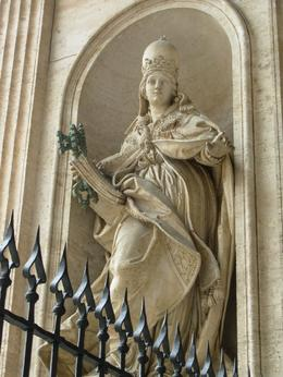 Beautiful carving of a guardian at the Vatican/St. Peter's Basilica, Rome, Cheryl N - June 2010